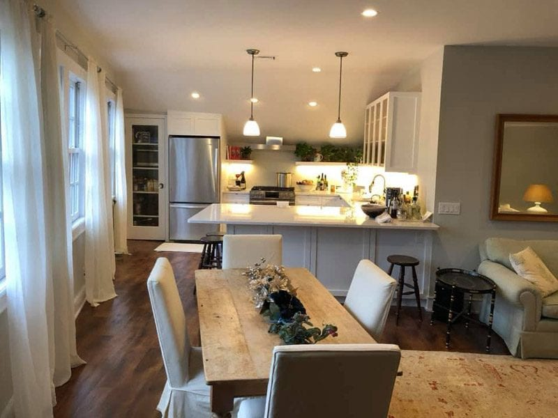 After picture of small kitchen renovation in the hamptons to more open floor plan